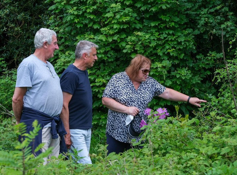 All Saints Church, Ecclesall open garden day Mike Ford, Rev Mark Brown and Fiona Ford discuss the planting.