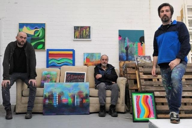 From left, Sheffield artists Kieran Flynn, Peter Smith and Julian Wright with their work for Reimagined Places