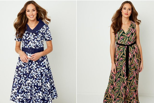 Two Joe Browns dresses: the retro collar dress (left) and the reversible wrap dress (right)