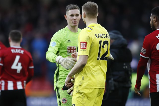 Dean Henderson of Sheffield Utd and Aaron Ramsdale of Bournemouth - picture date: 9th February 2020. Simon Bellis/Sportimage