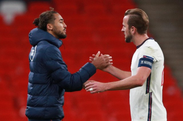Harry Kane (right), pictured with Dominic Calvert-Lewin, takes penalties for England - they're nailed on for a couple (Photo by IAN WALTON/POOL/AFP via Getty Images)