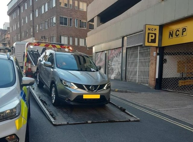 The car was removed because it was blocking the entrance to the NCP car park on Campo Lane, in Sheffield city centre