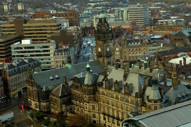 The new completed St Paul's Tower complex, and its views over Sheffield. Aerial view of Town Hall