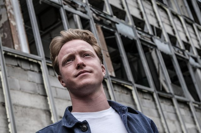 Sheffield musician Brad Walls on location at the former Stanley Tools factory