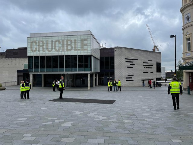 There was plenty of space in the vaccine queue at Sheffield's Crucible Theatre early on Saturday morning.