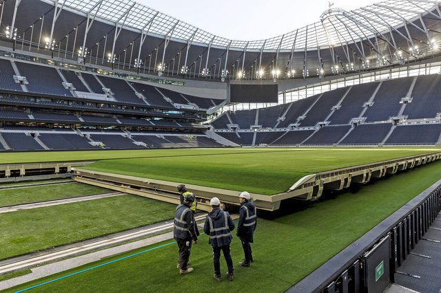 The 9,000 tonne pitch at Spurs slides under the South Stand, to reveal an NFL American football field, in 25 minutes.