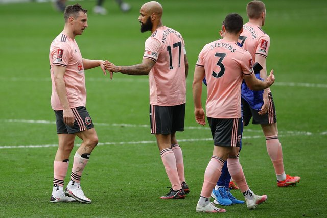 Sheffield United's disappointed players after defeat at Chelsea: David Klein/Sportimage