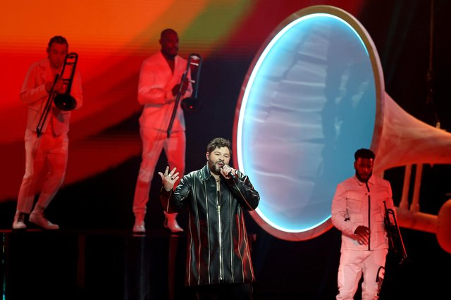 ROTTERDAM, NETHERLANDS - MAY 22: James Newman of United Kingdom during the 65th Eurovision Song Contest grand final held at Rotterdam Ahoy on May 22, 2021 in Rotterdam, Netherlands. (Photo by Dean Mouhtaropoulos/Getty Images)