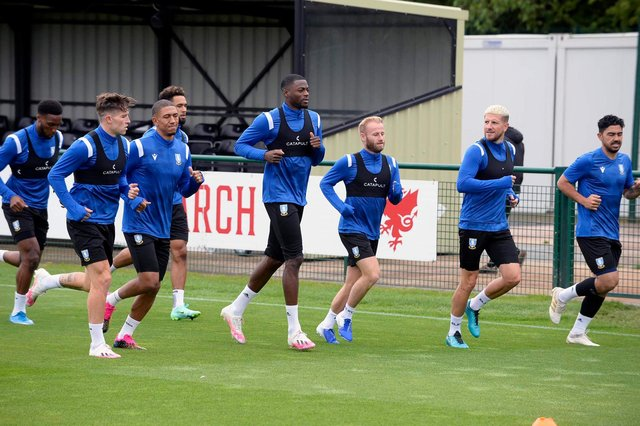 Sheffield Wednesday's more senior men at their Welsh training camp.