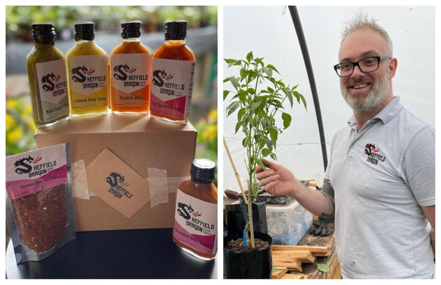 Andrew Armstrong with some of his Sheffield Dragon hot sauces