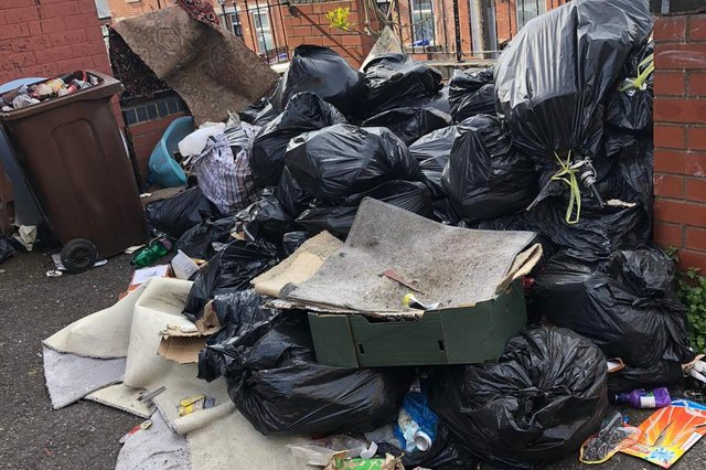 The waste that is piling up in front of a property on Wansfell Road.