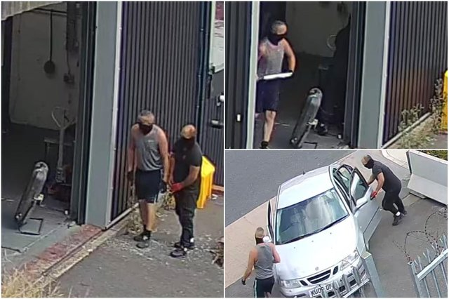 Two men were caught on CCTV stealing solid pewter ignots from Sheffield's English Pewter Company on Petre Street.