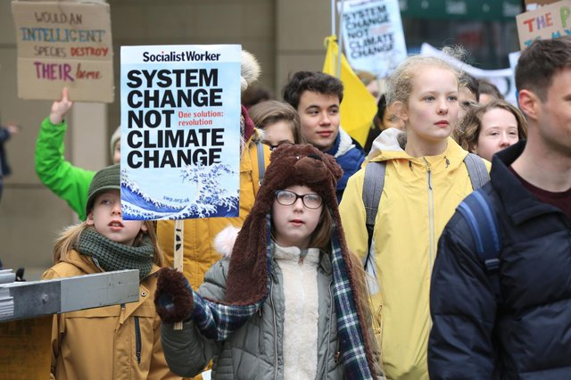 Climate change protesters on the streets of Sheffield.
