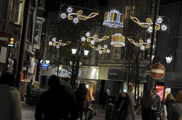 Doncaster town centre lit up by the festive light decorations.