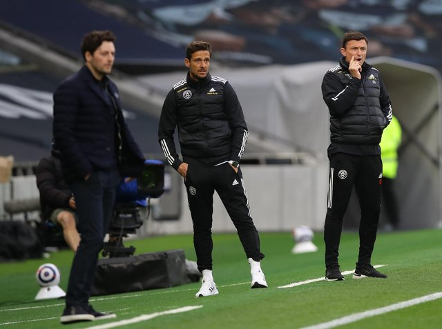 London, England, 2nd May 2021.  Jason Tindall assistant manager of Sheffield Utd and Paul Heckingbottom interim manager of Sheffield Utd during the Premier League match at the Tottenham Hotspur Stadium, London. Picture credit should read: David Klein / Sportimage