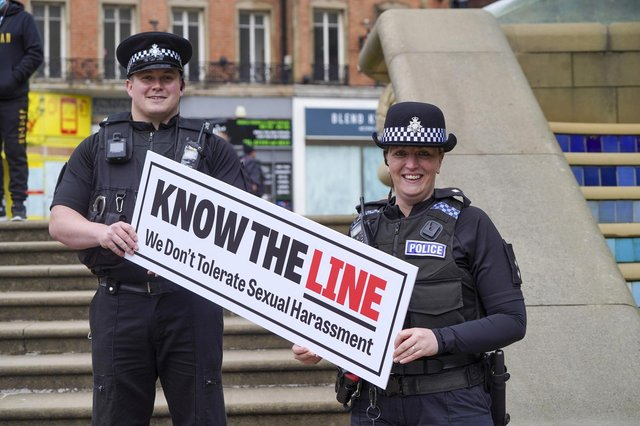 Launch of the Know The Line campaign in the Paece Gardens in Sheffield. PC Oliver Wilson and Insp. Ali Bywater. Picture Scott Merrylees