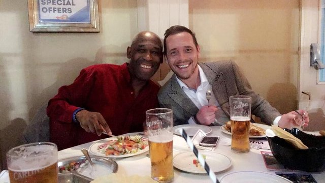 Mick and Stephen at a celebratory meal after the ex-pro was awarded an MBE.