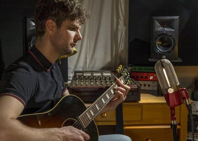 Andy Pickering in his home recording studio. Picture Scott Merrylees