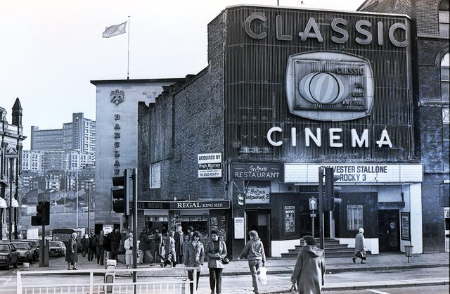 The Classic Cinema just before it closed in 1982 - Hyde Park flats are in the background