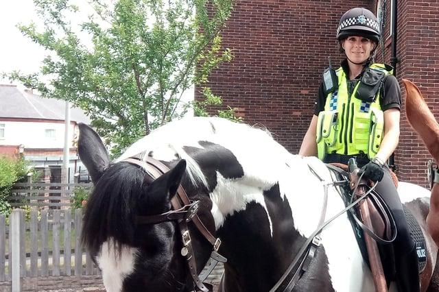 Michelle Hudson on police horse Treeton
