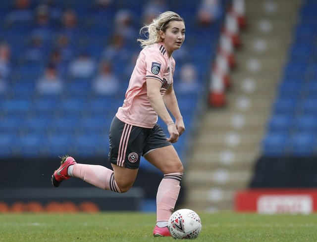 Maddy Cusack in action for Sheffield United Women.