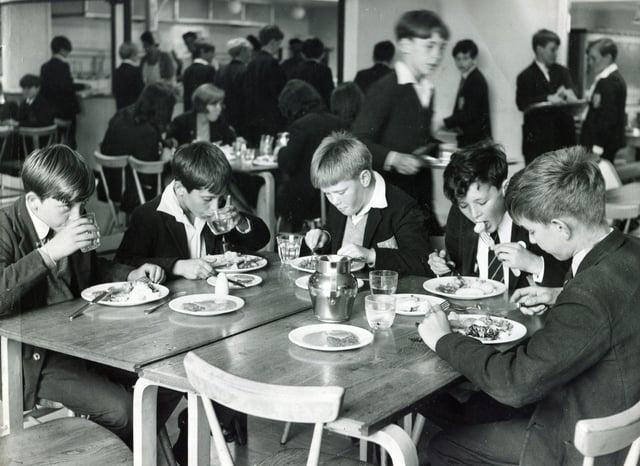 Enjoying a school meal in 1967
