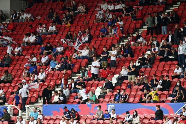 England fans. (Photo by PAUL ELLIS/POOL/AFP via Getty Images)