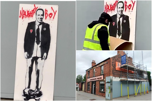A street art piece of Matt Hancock with his trousers down has disappeared from a Sheffield wall less than a day after being put up.