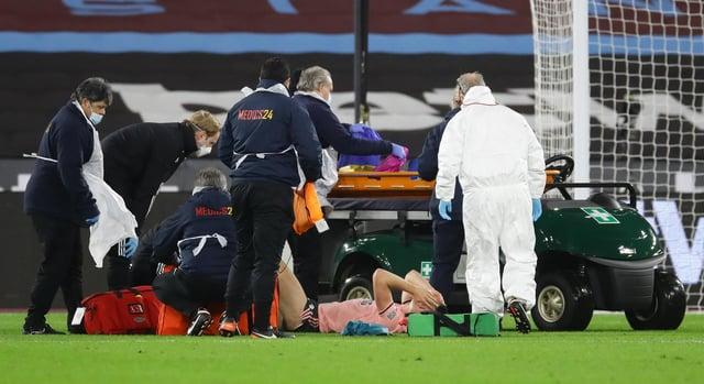 John Egan was injured at West Ham: David Klein/Sportimage