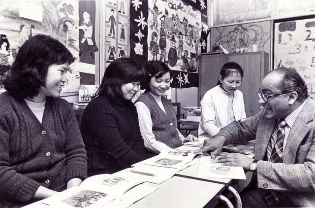 An English course for Chinese restaurant workers at Abbeydale Primary School, Sheffield, pictured on February 24, 1975
