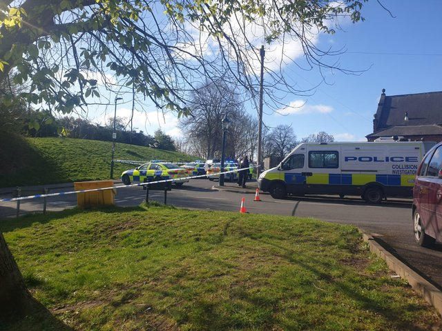 A police cordon on Nicholson Road, Heeley, at the junction with Kent Road.