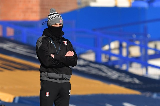 Rotherham manager Paul Warne stands on the touchline during the FA Cup third round football match between Everton and Rotherham United at Goodison Park  (Photo by PAUL ELLIS/AFP via Getty Images)