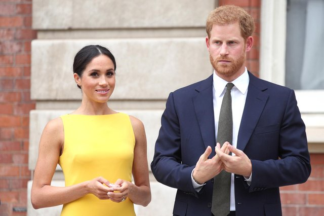 The Duke and Duchess of Sussex during the Your Commonwealth Youth Challenge reception at Marlborough House in London. The Duchess of Sussex has paid tribute to heroes who fed the hungry during the pandemic in a pre-recorded two-minute video message as part of the CNN Heroes series. - PA