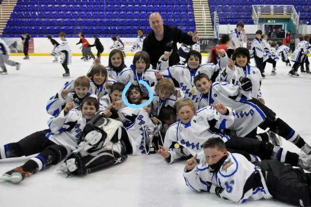 Paul Britton and the U12s: Liam Kirk circled.