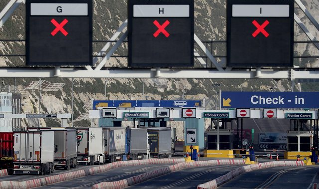 Lorries arrive at the Port of Dover in Kent Pic: Gareth Fuller/PA Wire