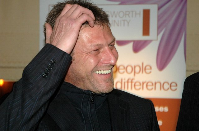Sean Bean laughing at a Handsworth Recreation Ground party