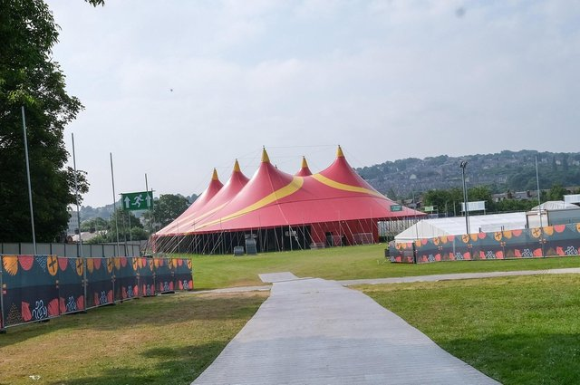 A huge tent has been erected in Hillsborough Park ahead of the Tramlines festival on Friday.