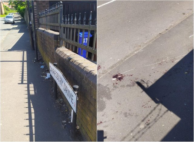 A bloodstain on Daresbury Drive, Sheffield, where a man was found stabbed
