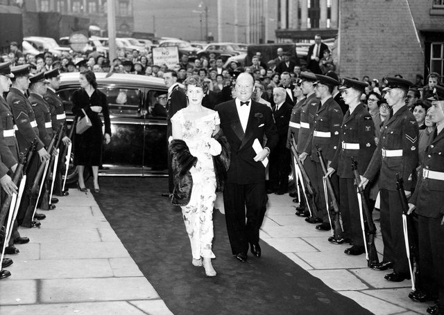 Gala opening of the Odeon Cinema on Norfolk Street/Flat Street, July 16, 1956. The opening was attended by actor Dinah Sheridan and her husband Sir John Davis, chairman of the Rank Organisation. A guard of honour was provided by RAF Norton. Picture Sheffield Ref No: y03391