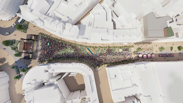 A big gig on Fargate. Image from the University of Sheffield.