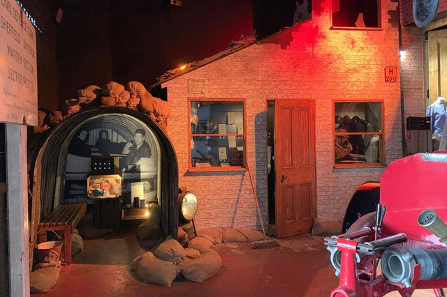 The National Emergency Services Museum, housed in a former police and fire station on West Bar, after an extensive refurbishment of its exhibition spaces. The Sheffield Blitz exhibition seen here includes an original Anderson air raid shelter