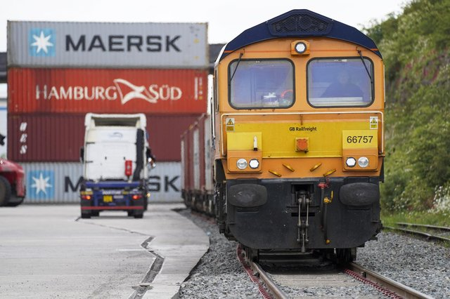 A freight train from the port of Felixstowe arrives at Tinsley Marshalling Yard. Picture Scott Merrylees