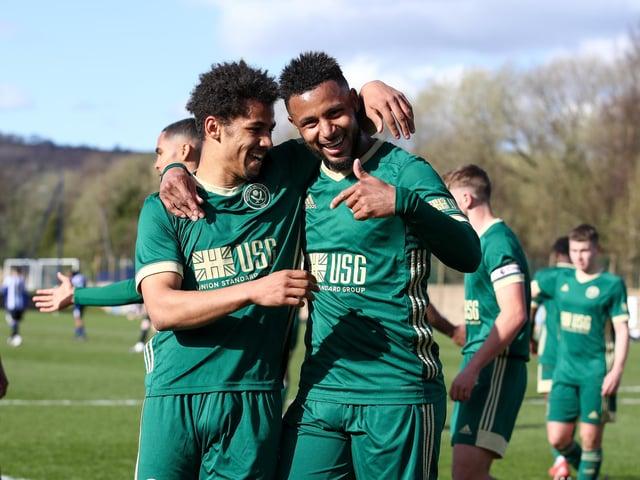 Sheffield United's Illiman Ndiaye celebrates scoring the third goal against Wednesday with Lys Mousset: Simon Bellis/Sportimage