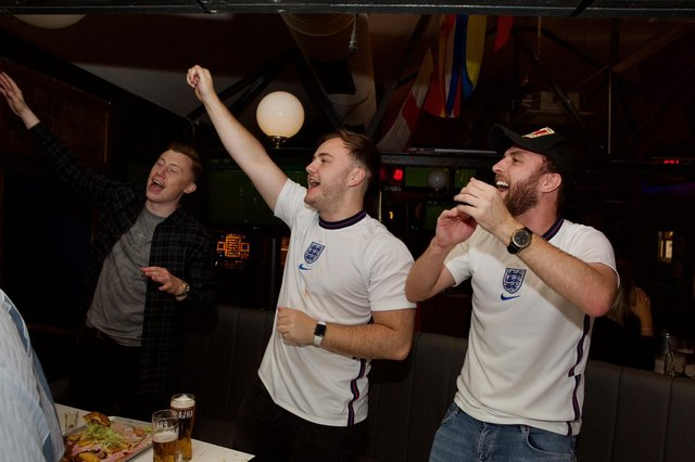 Fans celebrate at The Common Room as England beat Ukraine in Euro 2020 to reach the semi-finals.