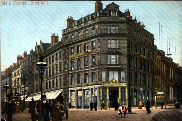 The original Cole Brothers Department Store on the corner of Fargate and Church Street, c 1900