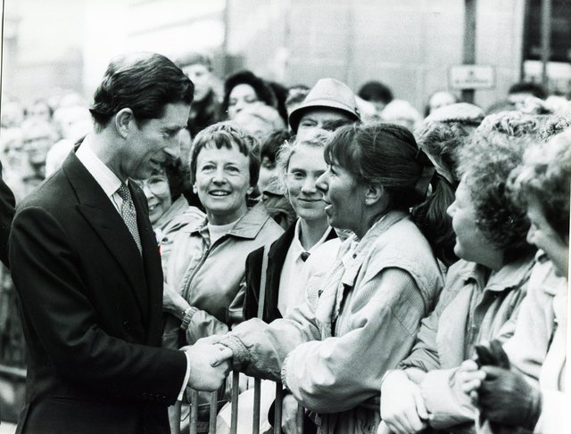 Prince Charles meets well-wishers outside the Cutlers Hall on a visit to Sheffield in November 1988