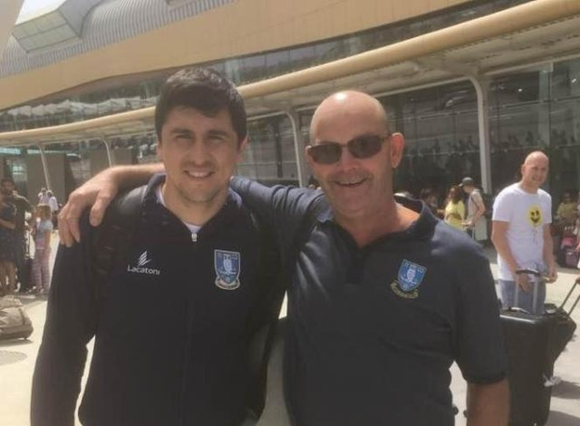 John Kingswood with the former Sheffield Wednesday forward Fernando Forestieri, one of his favourite players from recent years, whom he met during the club's pre-season in Portugal in 2017