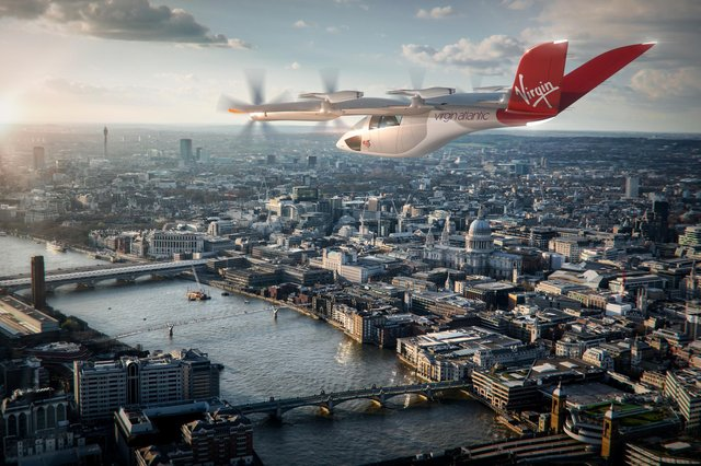 Impression of an electric plane over London.