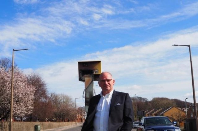 Councillor Wayne Johnson with the speed camera on Ardsley Hill, taken by Danielle Andrews.
