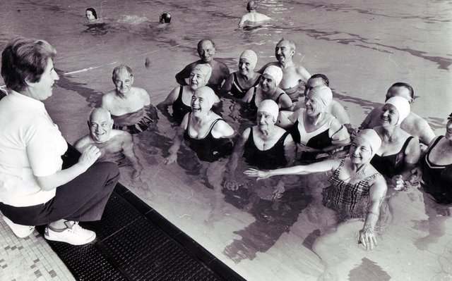 Enjoying themselves at Sheaf Valley Baths are these pensioners that have been receiving instruction from Mrs Rose Gore13th September 1976